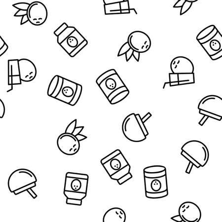 Coconut Food Vector Seamless Pattern Thin Line Illustration