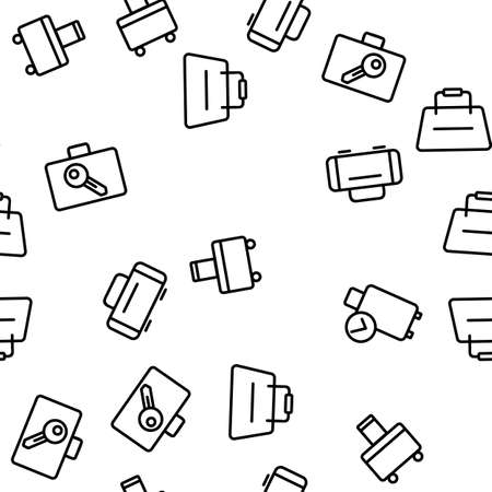 Luggage And Baggage Vector Seamless Pattern Thin Line Illustration