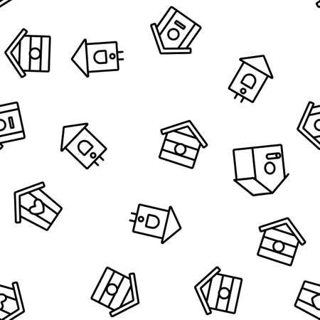 Bird House Vector Seamless Pattern Thin Line Illustration