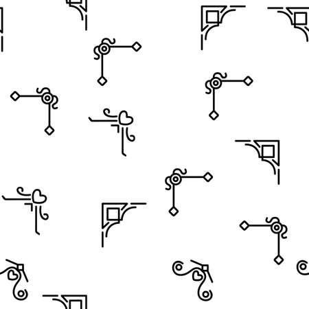 Corner Border Vector Seamless Pattern Thin Line Illustration