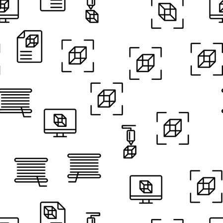 3d Printing Processing Vector Seamless Pattern Thin Line Illustration