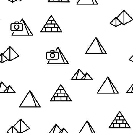 Pyramid Attraction Vector Seamless Pattern Thin Line Illustration 向量圖像
