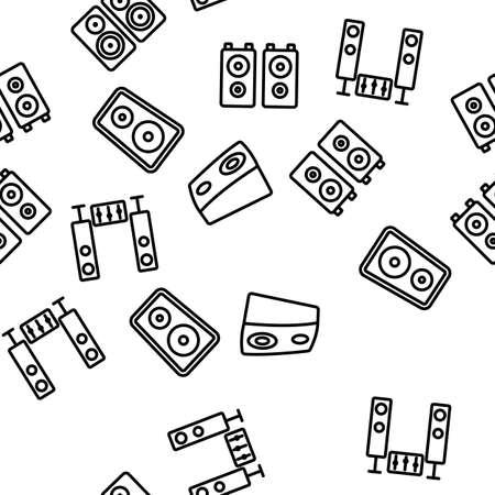 Audio Music Speakers Vector Seamless Pattern Thin Line Illustration