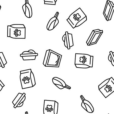 Pet Litter Accessory Vector Seamless Pattern Thin Line Illustration