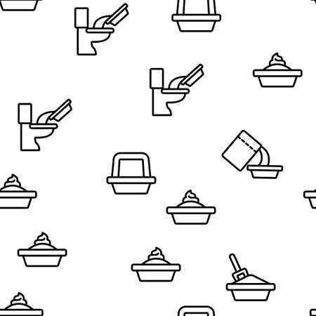 Pet Litter Accessory Vector Seamless Pattern Thin Line Illustration Illustration