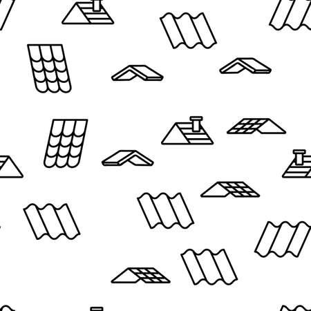 Roof Construction Vector Seamless Pattern Thin Line Illustration Stock Illustratie
