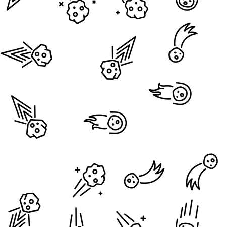 Meteor Cosmic Body Vector Seamless Pattern Thin Line Illustration Vektoros illusztráció