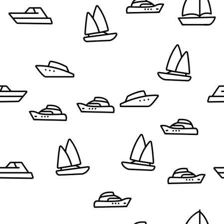 Yacht Marine Transport Vector Seamless Pattern Thin Line Illustration