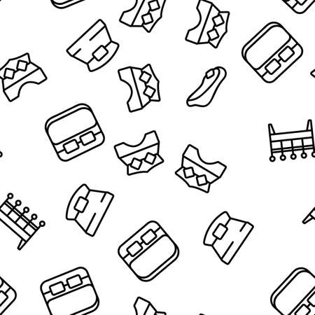 Bed Bedroom Furniture Vector Seamless Pattern Thin Line Illustration