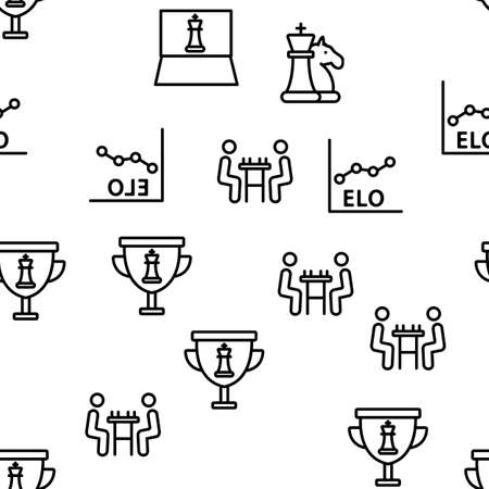 Chess Strategy Game Vector Seamless Pattern Thin Line Illustration