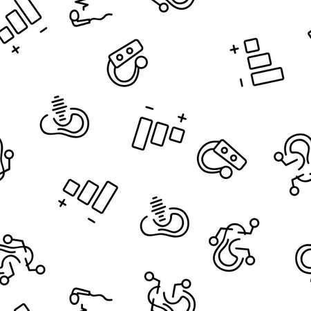 Hear Sound Aid Tool Vector Seamless Pattern Thin Line Illustration Illustration