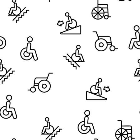 Wheelchair For Invalid Vector Seamless Pattern Thin Line Illustration Illustration