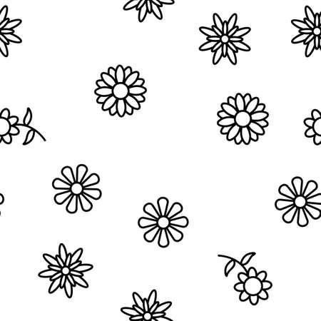 Chrysanthemum Flower Vector Seamless Pattern Thin Line Illustration
