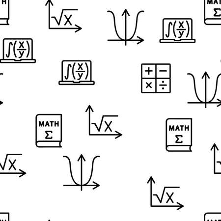 Math Science Education Vector Seamless Pattern Thin Line Illustration