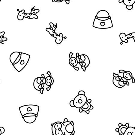 Doll Children Toys Vector Seamless Pattern Thin Line Illustration