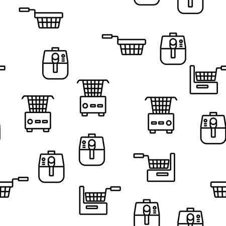 Fryer Electronic Tool Vector Seamless Pattern Thin Line Illustration