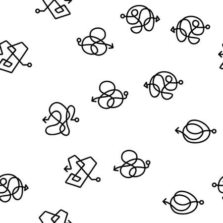 Chaos Arrow Movement Vector Seamless Pattern Thin Line Illustration