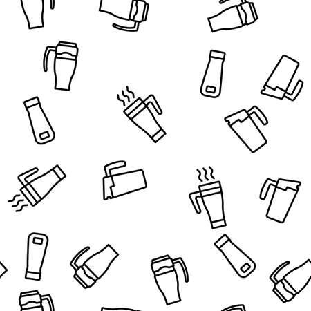 Travel Mug Hot Drink Vector Seamless Pattern Thin Line Illustration