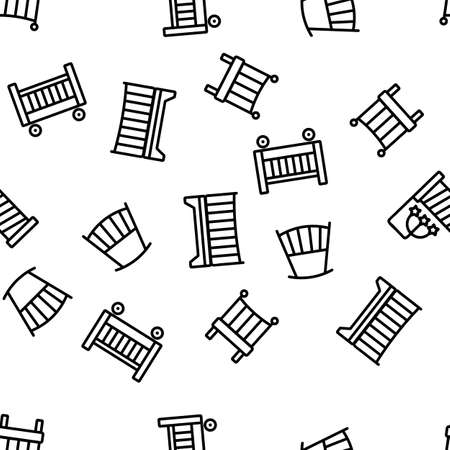 Crib Baby Infant Bed Vector Seamless Pattern Thin Line Illustration