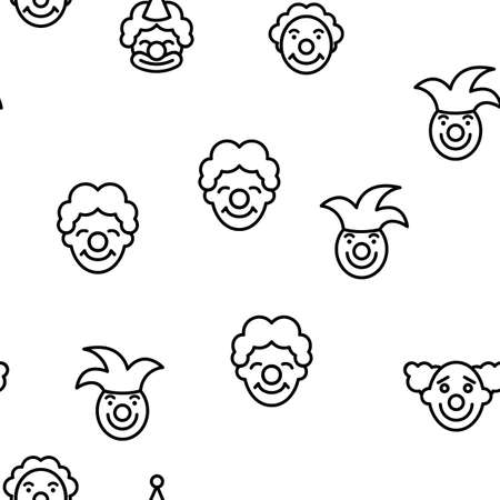 Clown Circus Character Vector Seamless Pattern Thin Line Illustration