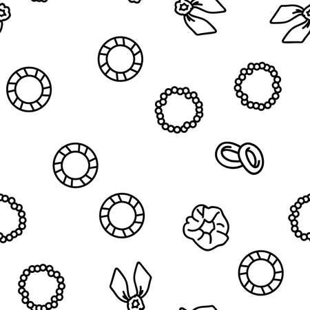 Hair Scrunchies Bands Vector Seamless Pattern Thin Line Illustration Vecteurs