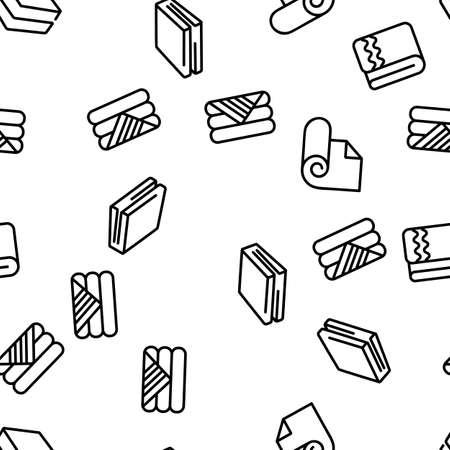 Blanket And Towel Vector Seamless Pattern Thin Line Illustration Ilustración de vector