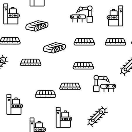 Conveyor Factory Tool Vector Seamless Pattern Thin Line Illustration Vektorgrafik