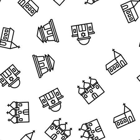Temple Architecture Building Seamless Pattern Thin Line Illustration