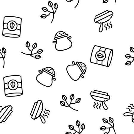 Oatmeal Healthy Food Vector Seamless Pattern Thin Line Illustration