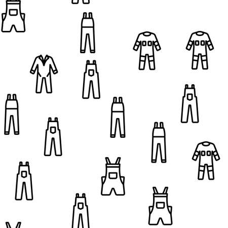 Overalls Worker Protect Clothes Vector Seamless Pattern Thin Line Illustration
