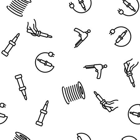 Soldering Iron Device Vector Seamless Pattern Thin Line Illustration