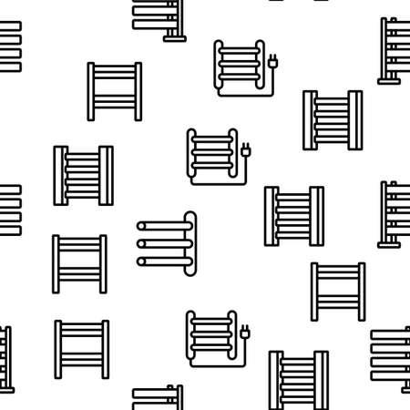 Heated Towel Rail Vector Seamless Pattern Thin Line Illustration Vetores