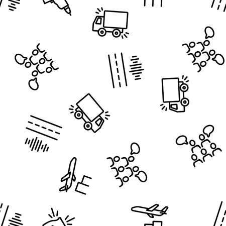 City Noise And Sounds Vector Seamless Pattern Thin Line Illustration  イラスト・ベクター素材