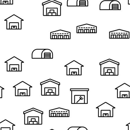 Shed Construction Vector Seamless Pattern Thin Line Illustration Çizim