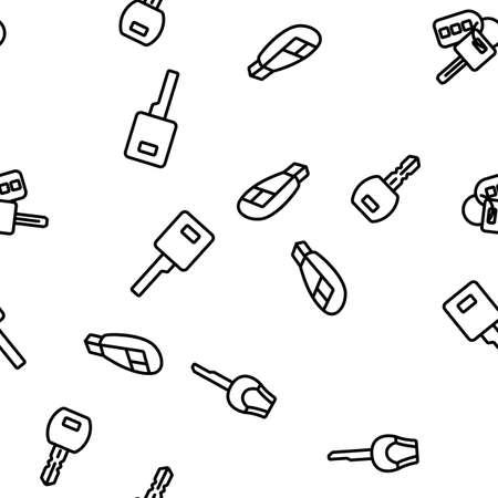 Car Key Equipment Vector Seamless Pattern Thin Line Illustration