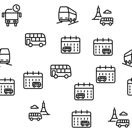 Bus Trip And Travel Vector Seamless Pattern Thin Line Illustration