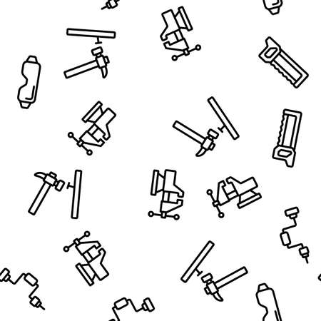 Carpenter Equipment Vector Seamless Pattern Thin Line Illustration