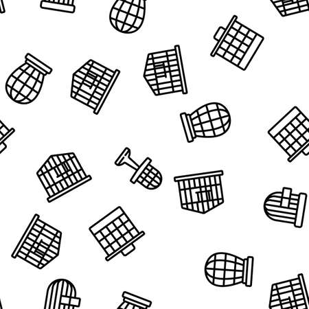 Cage Domestic Animal Vector Seamless Pattern Thin Line Illustration