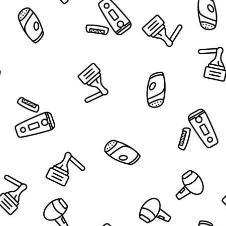 Depilation Equipment Vector Seamless Pattern Thin Line Illustration