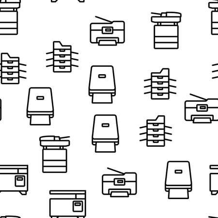 Photocopier Device Vector Seamless Pattern Thin Line Illustration
