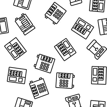 Vending Machine Selling Service Vector Seamless Pattern Thin Line Illustration