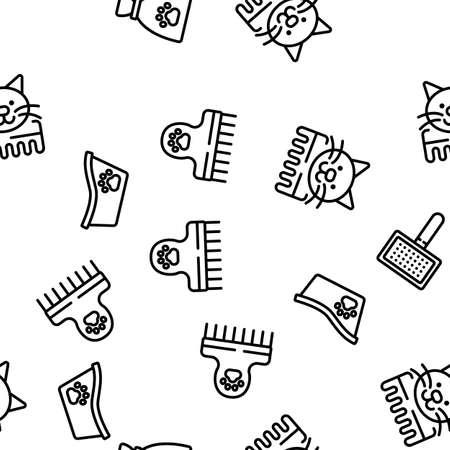 Grooming Animal Tool Vector Seamless Pattern Thin Line Illustration Stock Illustratie