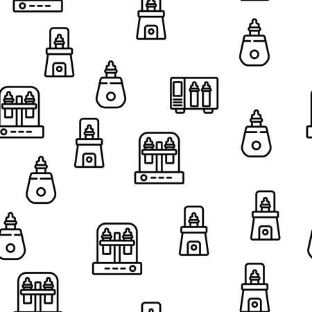 Sterilizer Device Vector Seamless Pattern Thin Line Illustration