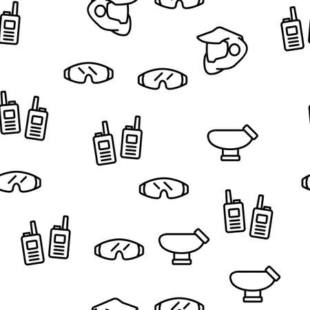 Paintball Game Tool Vector Seamless Pattern Thin Line Illustration