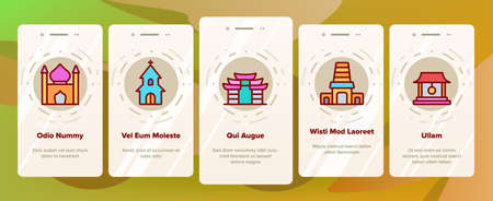 Temple Architecture Building Onboarding Mobile App Page Screen Vector. Religion Collection Nation Temple Building, Catholic And Christian Church, Islamic And Buddhism Illustrations 일러스트