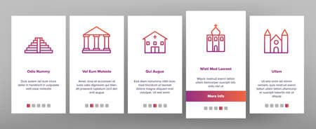 Temple Architecture Building Onboarding Mobile App Page Screen Vector. Religion Collection Nation Temple Building, Catholic And Christian Church, Islamic And Buddhism Illustrations 矢量图像