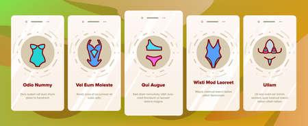 Swimsuit Woman Clothes Onboarding Mobile App Page Screen Vector. Glamor Swimsuit, Female Bikini, Underwear For Swimming, Feminine Swimwear Illustrations Vektorgrafik