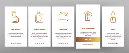 Oil Bottle Package Onboarding Mobile App Page Screen Vector. Oil Bottle With Pump And Measuring Scale, Amphora And Classical Form Container Illustrations