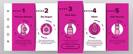 Lubricant Container Onboarding Mobile App Page Screen Vector. Lubricant Liquid , Oil And Cream Tube And Bottle, Spray And Flask, For Condom And Car Motor Illustrations Vetores