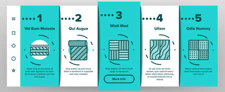 Floor And Material Onboarding Mobile App Page Screen Vector. Parquet And Carpet, Laminate And Marble, Linoleum Roll And Waterproof Floor Illustrations